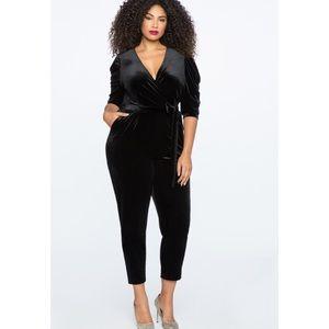Eloquii Black Velvet Jumpsuit with Pockets